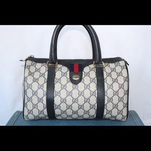Authentic Gucci Boston Doctors Bag Navy